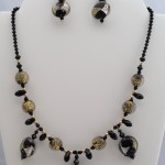 Italian Murano Gold and Black Beads with Swarovski Black Jet Drops $85