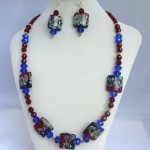 Red & Blue Lampwork swirl hand made beads with crystals in Silver Set $75